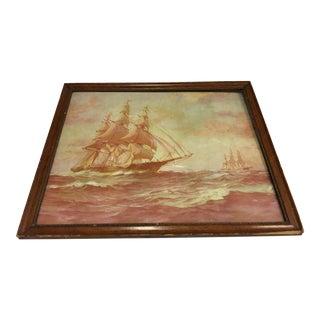 Sepia Sailing Ship Painting