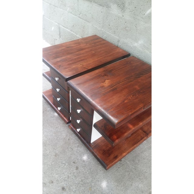 Image of Stained Vintage Pine End Tables with White Accents