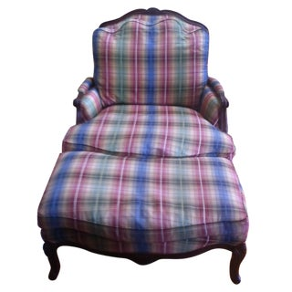 Norwalk Plaid Genevieve Chair & Ottoman