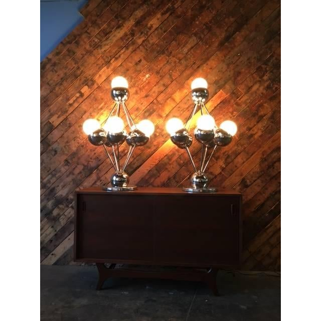 Mid Century Orb Lamp: Mid-Century Chrome Space Age Orb Lamps - Pair