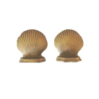 Solid Brass Clam Book Ends - A Pair