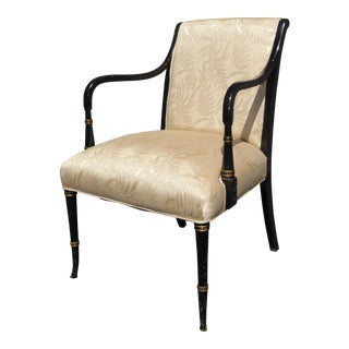 Vintage French Floral Silk Black & Gold Accent Chair