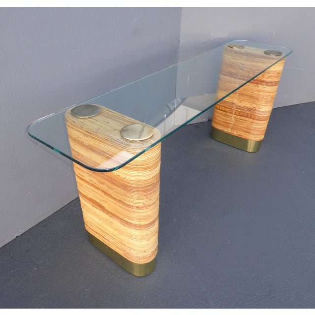Vintage Mid-Century Double Pedestal Bamboo Rattan Wrapped Glass Top Console Table - Image 5 of 11