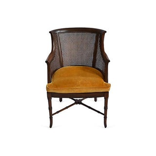 Upholstered Cane-Back Chair