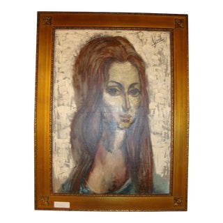 """""""Young Lady With Flowing Hair"""" Oil on Canvas Portrait Painting"""