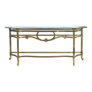 Brass Console Table with a Scalloped Beveled Glass Top