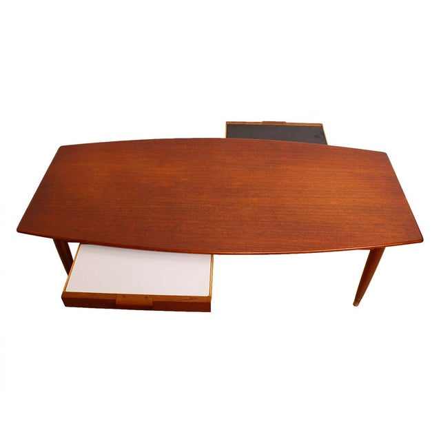 Swedish Teak Curved Coffee Table with Storage - Image 2 of 7
