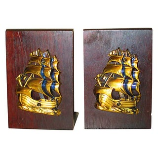Nautical Ship Brass & Wood Bookends