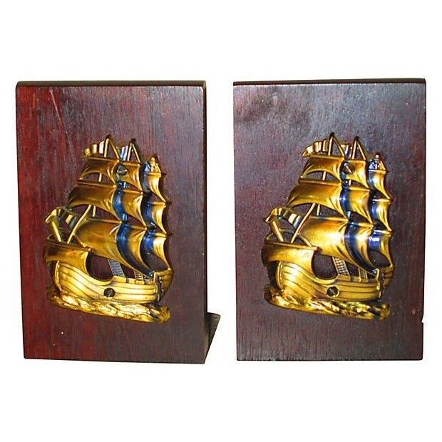 Image of Nautical Ship Brass & Wood Bookends