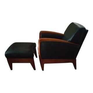 Sam Moore Art Deco Style Leather Chair & Ottoman