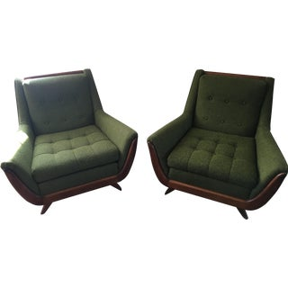 Mid-Century Scandinavian Green Chairs - A Pair