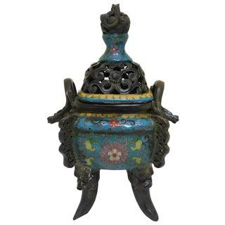 Chinese Metal Blue Enamel Cloisonne Incense Burner