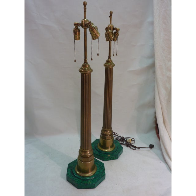 Image of Brass Column Lamps W. Faux Malachite Bases -A Pair