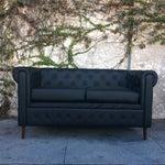 Image of Black Faux Leather Mid Century Style Loveseat Sofa