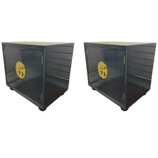 Henredon Navy Lacquered Side Cabinets - Pair