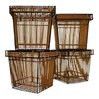 1960s Wicker and Steel Baskets