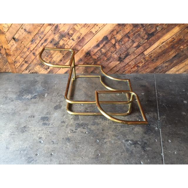 Vintage Swivel Brass Glass Coffee Table