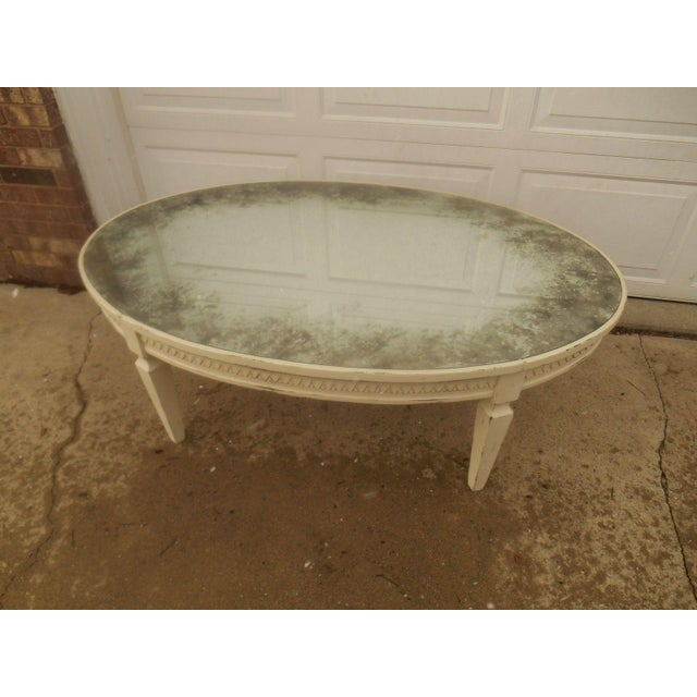 Vintage French Country Distressed Oval Coffee Table