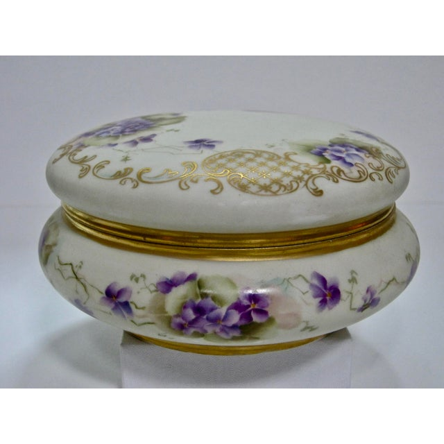 Antique Limoges France Hand Painted Violets & Gilt Box - Image 4 of 7