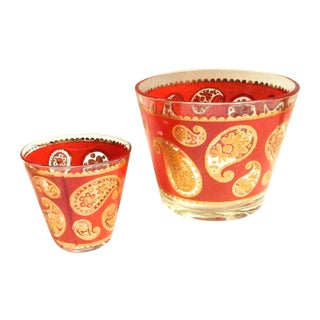 Paisley Ice Bucket & Condiment Glass - A Pair