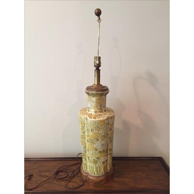 Vintage Yellow Champange Floral Lamp - Image 3 of 7