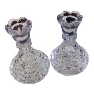 Lead Crystal Candle Holders - A Pair