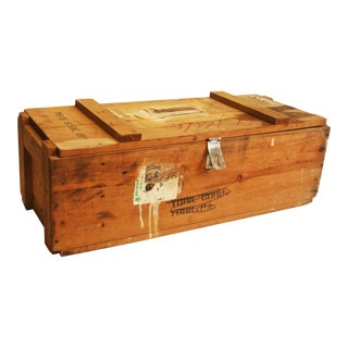 Vintage Wood Military Ammunition Trunk