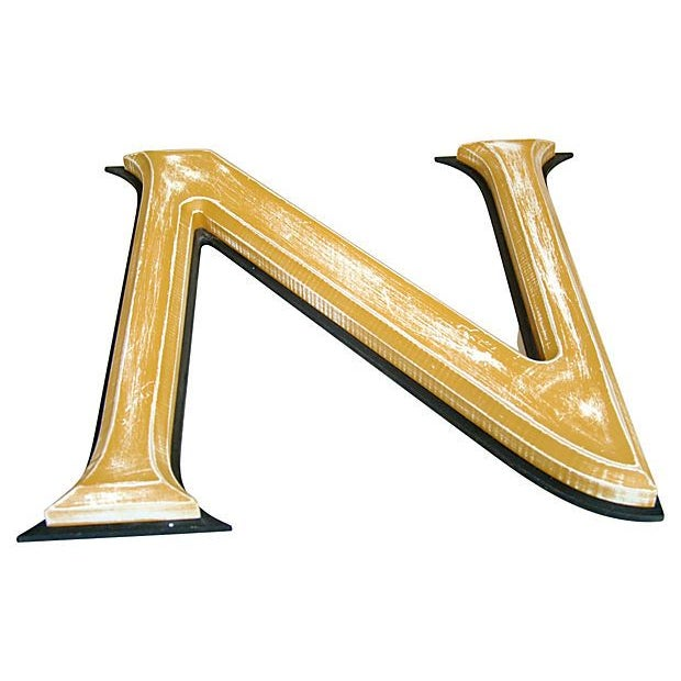 "Image of Large 18"" Vintage Wooden Marquee Letter N"