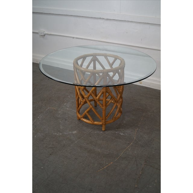 Wicker Coffee Table Base: Round Glass Top Rattan Base Dining Table