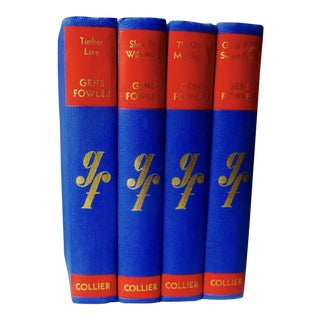 Gorgeous Blue & Red Vintage Gene Fowler Books, S/4