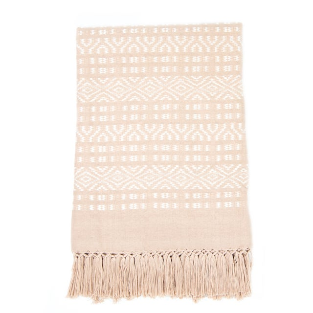 Blush Pink & White Handwoven Chiapas Throw - Image 1 of 4