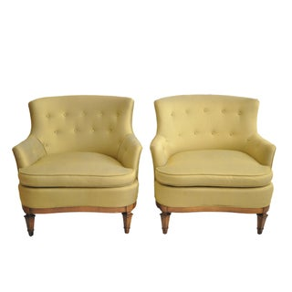 Yellow Walnut Club Chairs - A Pair