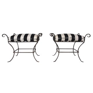 Italian Tuscan Iron Benches - A Pair