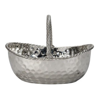 Mid-Century Nickel Plated Hammered Basket