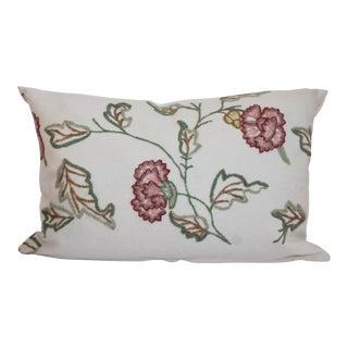 Floral Motif Crewelwork Bolster Pillow