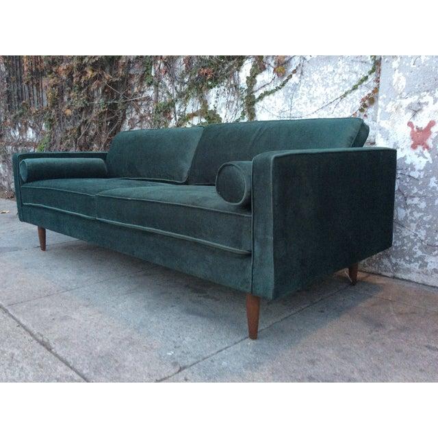 Mid Century Style Sofa: Green Velvet Mid-Century Style Sofa