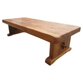 French Antique Rustic Oak Arts and Crafts Coffee Table