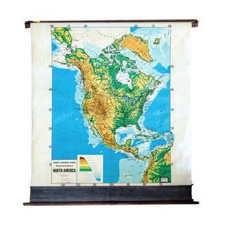 Vintage Cram's Pull Down Map of North America