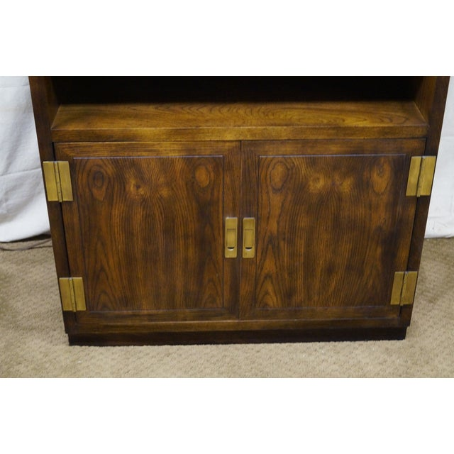 Henredon Campaign Oak Bookcase with Curio Top - Image 8 of 10