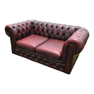 Vintage Burgundy Leather Chesterfield Loveseat