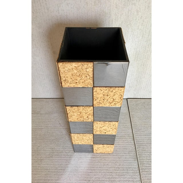 Paul Evans Style Cork & Chrome Pedestal Plant Stand - Image 4 of 6