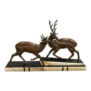 Monumental French Art Deco Bronze Sculpture of Two Cervus And Marble Base Circa 1940s.