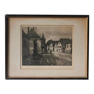 Antique Louis-Etienne Dauphin Village Study Drawing