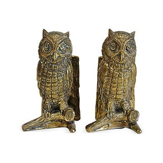 Cast Metal Owl Bookends