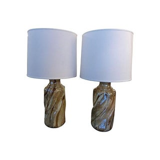 Ceramic Faux Marble Table Lamps - A Pair