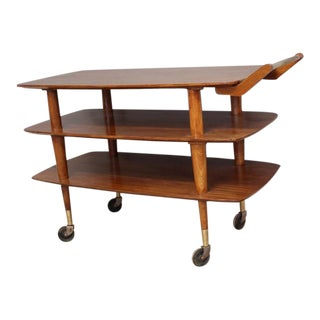 Lexington Mid-Century 3-Level Walnut Bar Cart