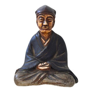 Japanese Miniature Clay Sitting Figure Scholar in Contemplation Antique