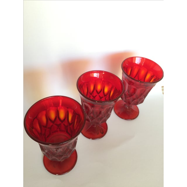 Mid-Century Ruby Red Goblets - Set of 6 - Image 8 of 11