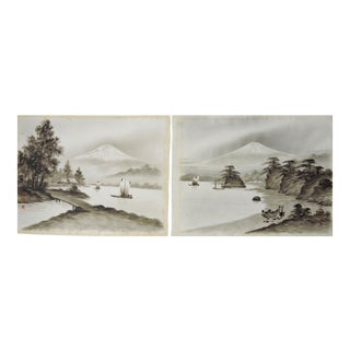 Antique Silk Paintings of Mount Fuji, Japan - a Pair
