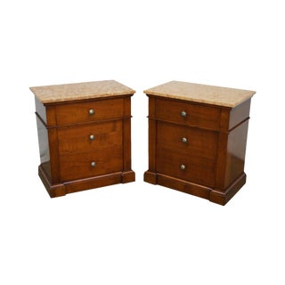 Italian Fruitwood 3 Drawer Marble Top Chests Nightstands - A Pair